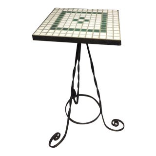 Mid-Century Green & White Tile Table
