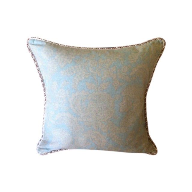 """Linen """"Watercolor"""" Pillow Cover w/ Silk Braid Welt - Image 1 of 3"""