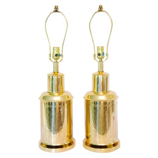 Frederick Cooper Brass Tea Canister Lamps - a Pair