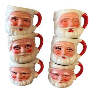 1950s Vintage Santa Clause Mugs - Set of 6