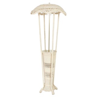 Classic Antique Wicker Floor Lamp with a Unique Feature