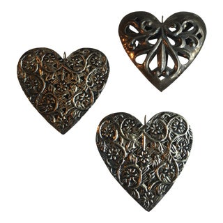 Vintage Silver Heart Ornaments - Set of 3