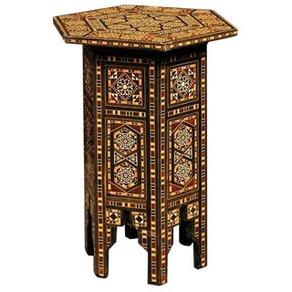 Petite Moroccan Drinks Table with Wood and Bone Inlay and Geometric Decor