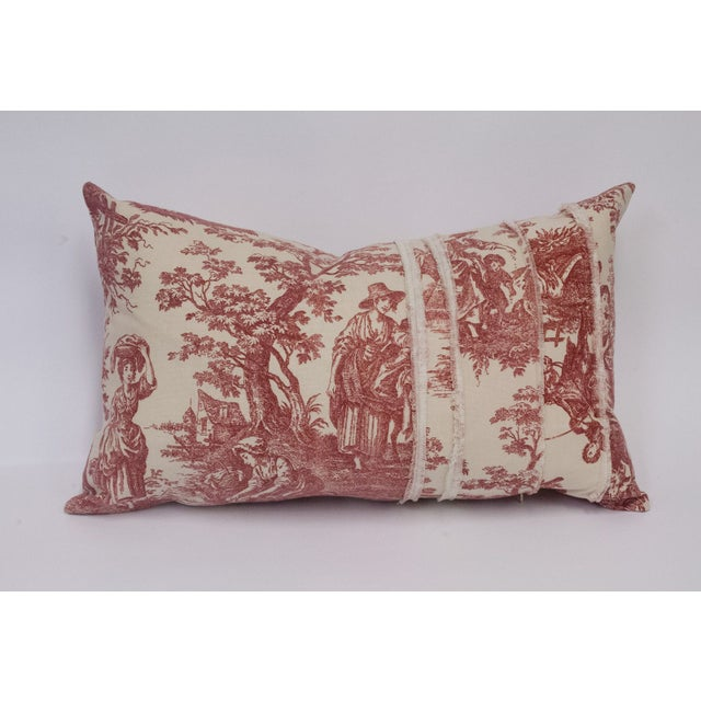 Red & Cream Deconstructed Toile Pillows - A Pair - Image 6 of 8