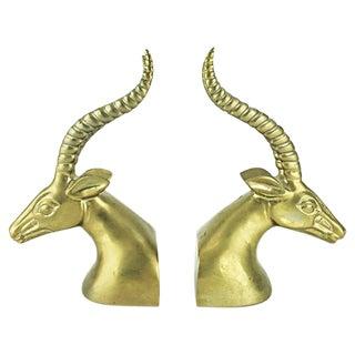 Vintage Brass Gazelle Bookends