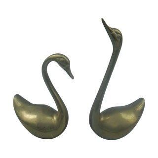 Decorative Brass Swans - A Pair
