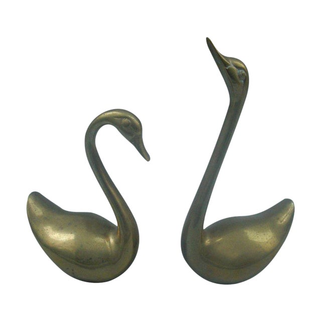 Image of Decorative Brass Swans - A Pair