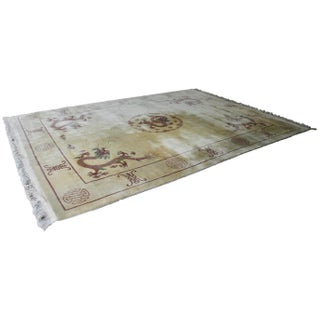 "Walter Nichols-Style Ivory Chinese Art Deco Rug With Dragons 8'-9"" X 12'-4"""