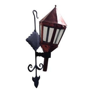 French Copper Lantern in Wrought Iron Wall Mount