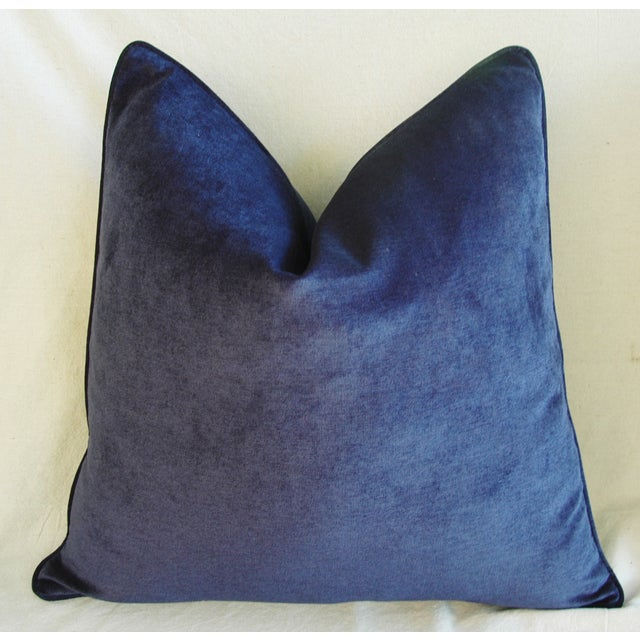Large Designer Midnight Blue Velvet Feather/Down Pillows - Pair - Image 4 of 10