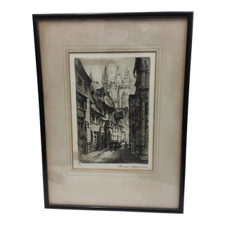 European City Street by Cathedral Etching