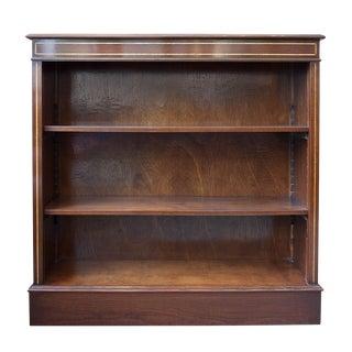 English Satinwood Inlaid Mahogany Low Bookcase