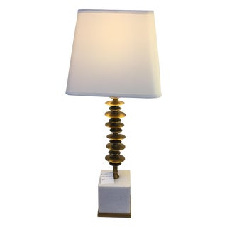 Sculptured Brass & Marble Table Lamp