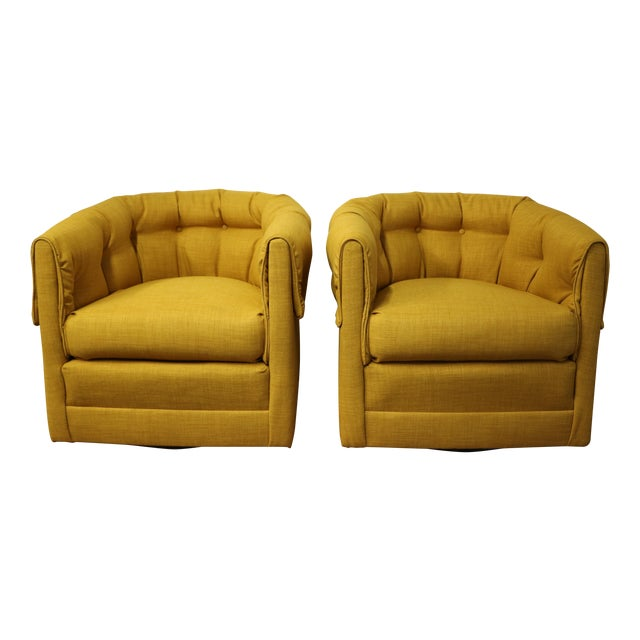 Vintage Swivel Lounge Chairs - A Pair - Image 1 of 6