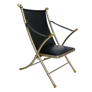 Jansen Style Leather & Brass Campaign Chair