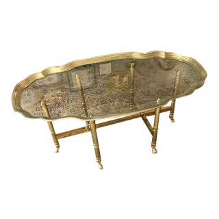 Brass Hooved Pie Crust Coffee Table