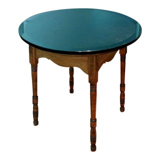 Round Oak Stone Top Table
