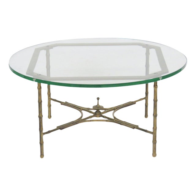 Faux Bamboo Glasstop Coffee Table Chairish