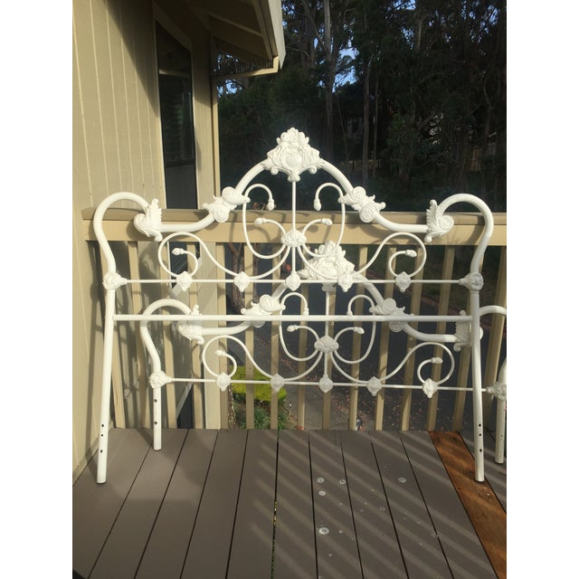 Antique Victorian White Enamel Queen Bed - Image 2 of 3