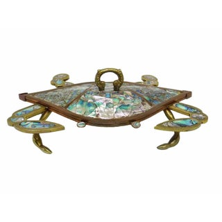 Mexican Abalone Crab Lidded Trinket Dish