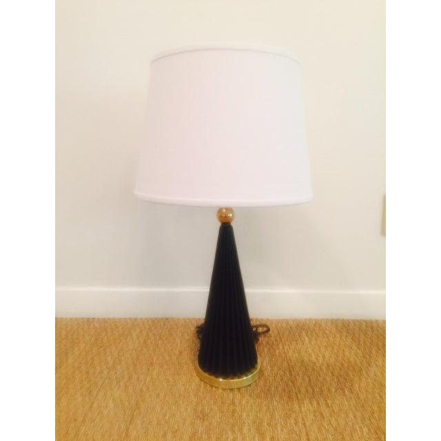 Atomic Black & Brass Metal Pleated Skirt Lamp - Image 3 of 5