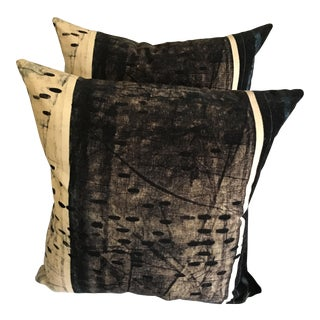 Hb Home Navy, Smoke & Ivory Velvet Pillows - a Pair