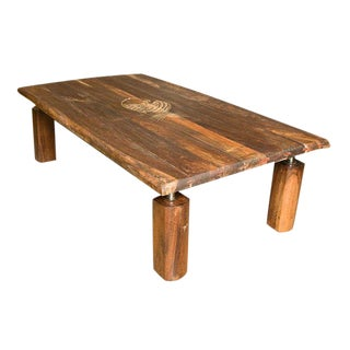 Brazilian Rosewood Coffee Table with Incised Fish