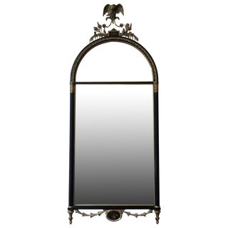 Antique Adams Style Painted & Etched Glass Mirror