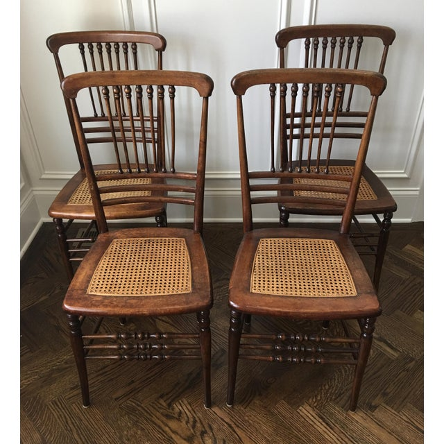 antique victorian stick ball cane seat dining chairs set of 4 chairish. Black Bedroom Furniture Sets. Home Design Ideas