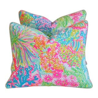 "22"" X 18"" Lilly Pulitzer-Inspired/Style Beach & Ocean Floral Pillows - Pair"