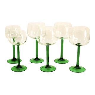 Emerald Green Cristal d'Arques Wine Glasses - Set of 6
