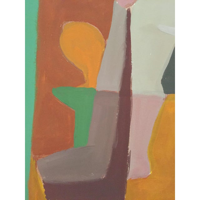 Mid-Century Gouache Cubist Female Nude Painting - Image 7 of 7