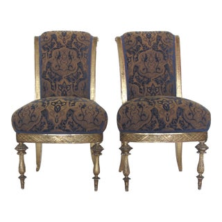 Gold Giltwood Slipper Chairs - A Pair