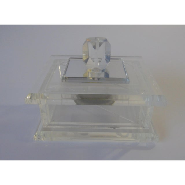 Image of Handcrafted Art-Deco Clear Lucite Jewelry Box