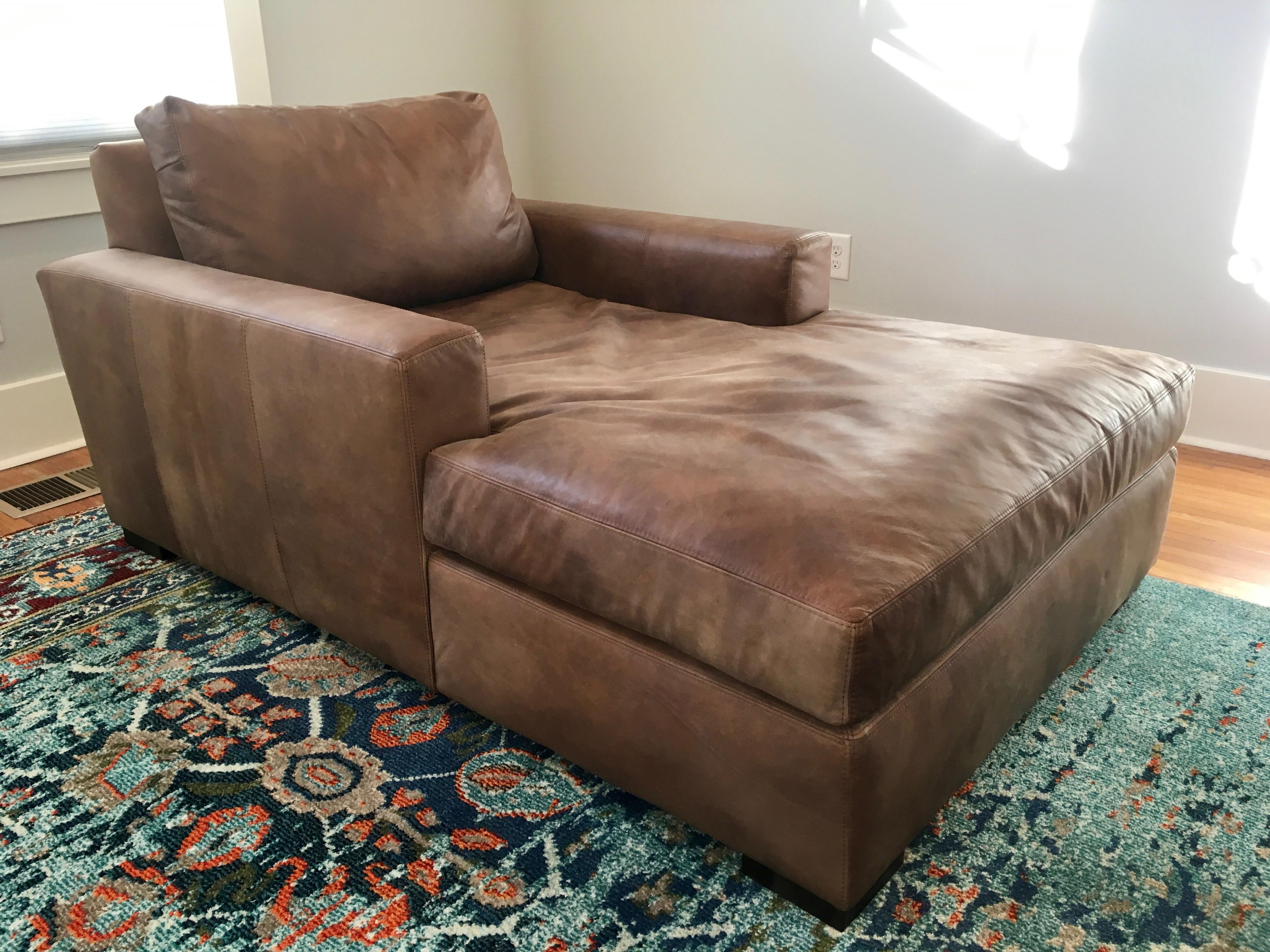 image of restoration hardware maxwell leather chaise lounge