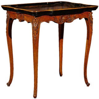 French Late 19th Century Louis XV Style Side Table with Black and Gold Tray Top