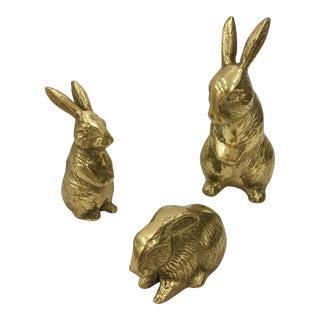 Vintage Brass Bunny Rabbits - Set of 3