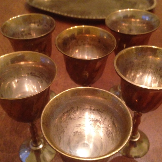 Vintage Brass Cordial Glasses and Tray - Set of 7 - Image 7 of 11