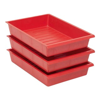 Charlotte Perriand Moulded Red Plastic Drawers - Set of 3