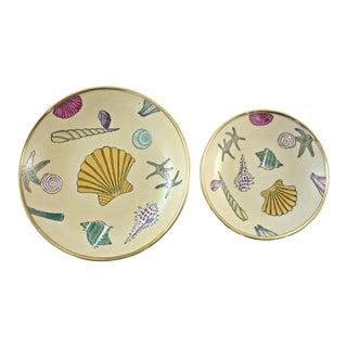 Brass Encased Seashell Catchalls - A Pair