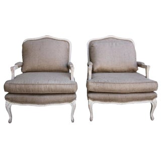 French Burlap & Painted Armchairs - A Pair