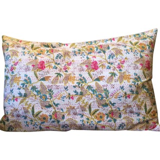 King Cotton Floral Kantha Pillowcases - Pair