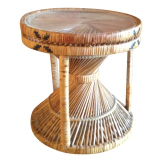Round Rattan Stool or Side Table