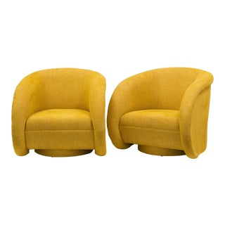 A Large Pair of Upholstered Swivel Chairs USA mid 1990s