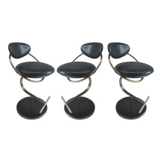 Design Institute of America Leather Swivel Counter Stools - Set of 3