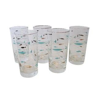 Atomic Turquoise Fish Drinking Glasses - Set of 5