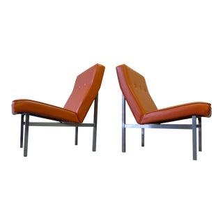 Mid Century MODERN Chrome + Vinyl VIBRANT ORANGE Lounge Chairs