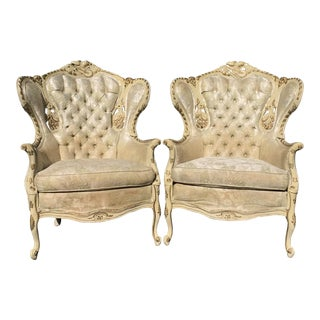 Tufted French Baroque Throne Chairs Bergeres Fauteuils - a Pair