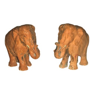 Antique Primitive Terra Cotta Clay Elephant Figurines - a Pair