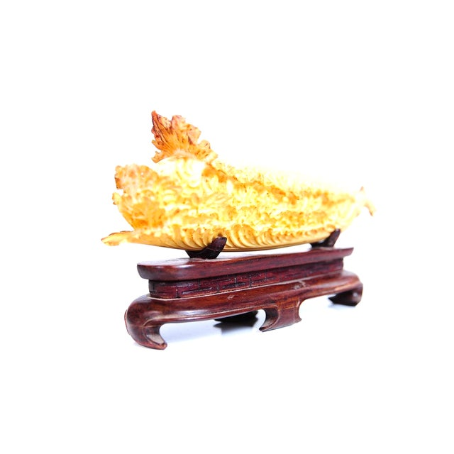 Chinese Antique Lettuce Sculpture on Stand - Image 1 of 8